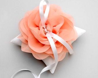 Coral ring pillow, orange bridal pillow, wedding ring bearer, ring pillow wedding - Aria