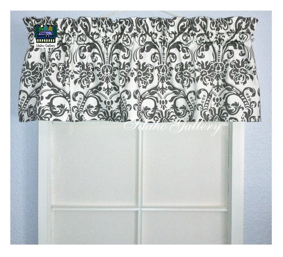 Items Similar To Gray And White Damask Bedroom Valance