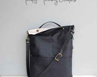 Modern Black Tote Bag, Convertible Foldover Purse, Quilted Look Cross Body Bag,  Plus Size Custom Length Leather Strap, Messenger Bag USA