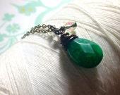 Jaded - green jade brass / jade necklace / healing necklace / green stone necklace / jade jewelry / green brass necklace / gemstone necklace