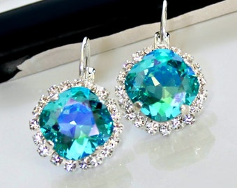 New Color! Light Turquoise Glacier Blue Swarovski Crystals with Halo Crystals on Silver Leverback Earrings
