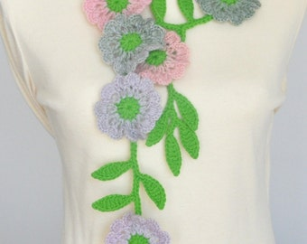Floral Smile - Spring - Crochet Multicolor Flowers Lariat/Scarf