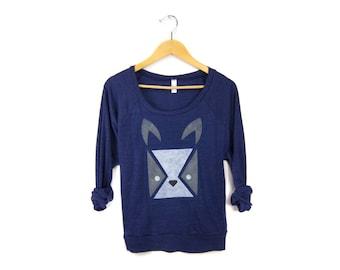 Geo Bulldog Sweatshirt - Oversized Lightweight Long Sleeve Pullover Raglan Sweater inHeather Midnight - Women's Size S M L