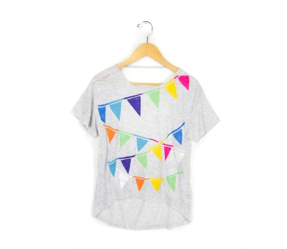 Triangle Bunting Tee - Scoop Back Hi Lo Heather Strappy Tee in Ash Grey Multi Rainbow - Women's Size S M L