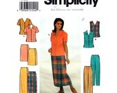 Blouse, Wrap Skirt, Pants Pattern Simplicity 8124 Slim Trousers Womens Sewing Pattern Size 8 10 12 or 14 16 18 UNCUT