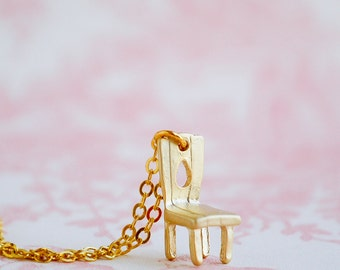 CHAIR Necklace Tiny Gold Chair Toy Fairy Chair Doll House Chair Teen Jewelry