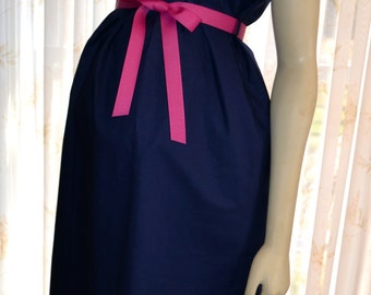Maternity Hospital Gown/Milk Breaks nursing feature is an available option/Navy