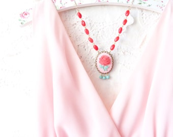 Vintage Beaded Cameo Necklace - Garden Wedding - Statement Necklace - Easter Necklace - Spring - Pastel - Red Rose