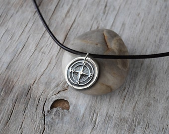 Men's Compass Necklace - Men's Jewelry - Silver Wax Seal Compass - Leather Cord -  Men's Leather Pendant - Unisex Eco Friendly Silver