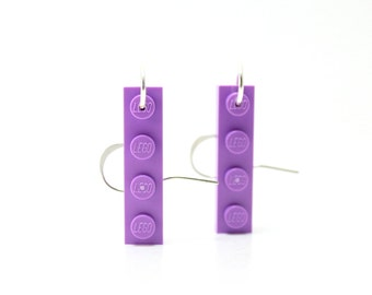Chic Geek Earrings made from New LEGO® Plates - Lavender Earrings, Dangly Earrings