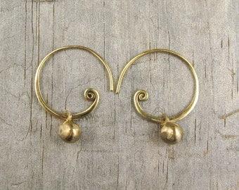 Spiral Earrings - Spiral Hoop - Gold Hoops - Ball Earring - Handcrafted Earring - Bronze - Teen Jewelry - Golden Sun Nuggets  (EB-NGS-SPL)