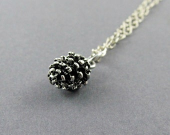 Silver Pinecone Necklace, Pinecone Pendant, Pine Cone Necklace, Sterling Silver, Woodland Jewelry, Autumn Wedding, Nature Jewelry