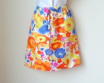 Linen Skirt - Adjustable Waist - Mini - Floral Print - Tropical - Holiday - Hand Made - Knee Length - UNIQUE - Cotton - Blue Orange Yellow