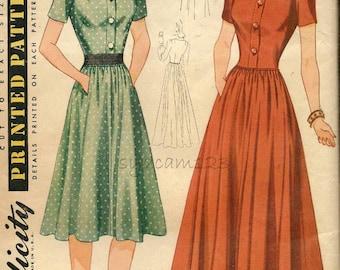 Vintage 1940 Shirtwaist Day or Evening Dress Pattern Square Neckline Full Skirt 1940s Simplicity 3860 Bust 32 UNCUT
