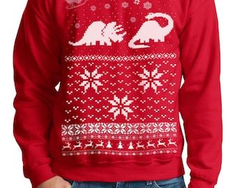 Ugly Christmas sweater -- Santa Dinosaur -- pullover sweatshirt -- s m l xl xxl xxxl