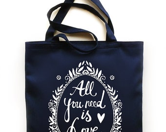 All you need is Love tote bag - srceenprint - navy - white