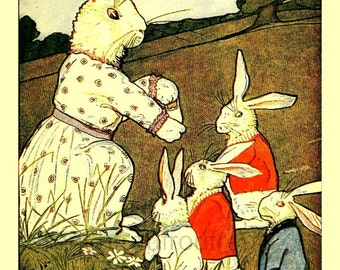 antique victorian illustration tale of peter rabbit beatrix potter children book plate digital download