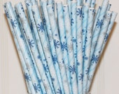 Paper Straws, 75 Snowflake Paper Straws, Disney Frozen Party Straws,, Blue Paper Straws, Winter Drink Straws, Snowflake Straws,  Ski Party
