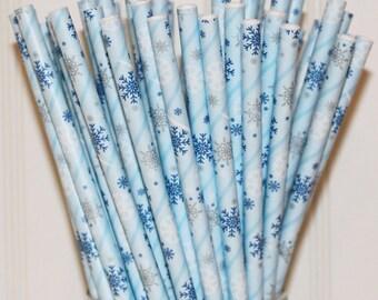 Paper Straws, 75 Snowflake Paper Straws, Disney Frozen Party Straws,, Blue Paper Straws, Winter Drink Straws, Snowflake Straws,  Ski Party