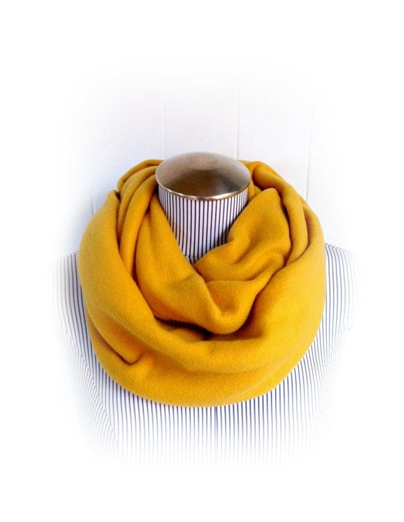 Mustard Infinity Scarf, Golden Yellow Fleece Cozy Loop Cowl Scarf
