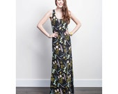Desert Floral Maxi Dress in Pale Pink, Blue Mint and Yellow Ochre on Black