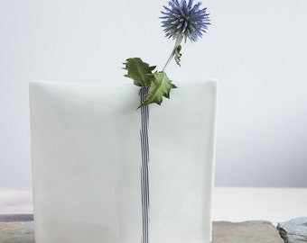 Hand Built Striped Porcelain Bud Vase - Medium
