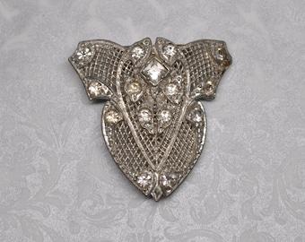 Antique Filigree Pot Metal and Paste Dress Clip Shield Shape