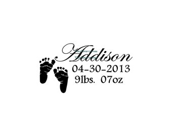 Baby Footprints Custom Name Birth Date Weight - Wall Decal - Vinyl Wall Decal, Wall Decor, Baby Room, Nursery Wall Decor, Baby Shower Gift