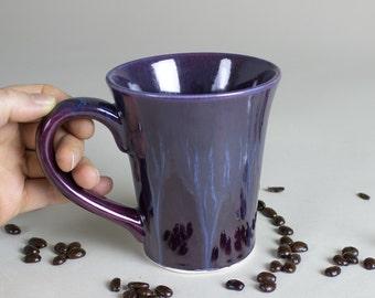 Purple Ceramic Coffee Cup, Modern Mug Hand made Minimalist pottery stoneware Eggplant French Country kitchen Entertaining Gift Tea