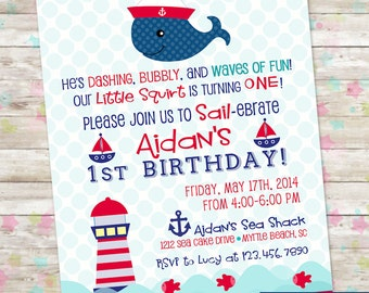 Nautical Birthday, Little Sailor Boy, Whale Birthday Invite, Whale Party, Summer Party, Nautical Summer Party, Anchors, Sailboat, Printable