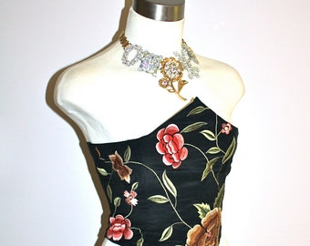 JEAN PAUL GAULTIER Vintage Maille Bustier Embroidered Boned Laced Corset - Authentic -