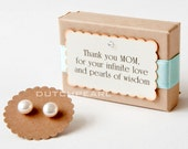 MOTHER of the bride earrings - genuine pearl earrings personalized gift box pearl studs - infinite love pearls of wisdom - mother of groom