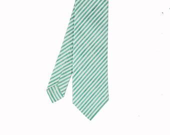 Finn - Turquoise Green/White Stripe Linen Men's Tie