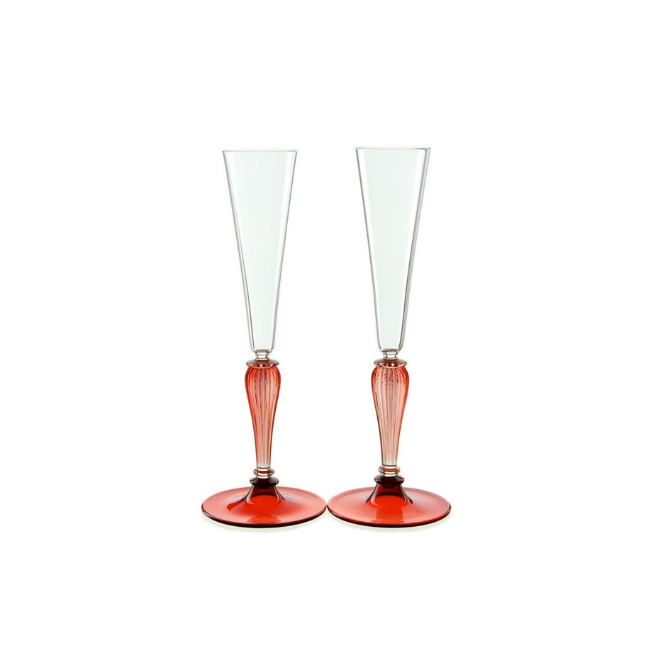 Champagne toasting glasses red and clear hand blown glass - Hand blown champagne flutes ...