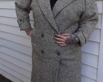 Tweed Winter Coat 80s Retro 1980s Vintage Gray Long Junior Colony L