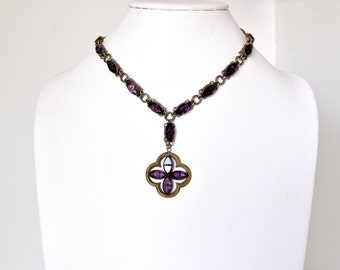 Beautiful Victorian Amethyst Glass Necklace