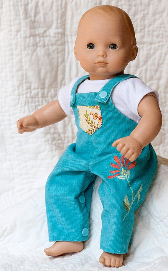 Bitty Baby Doll Clothes Corduroy Overalls w Flower Applique