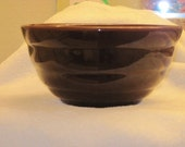 Vintage Bauer Beehive Ring Ware Nesting Bowl in Chocolate Brown Glaze 1940's