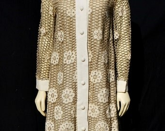 Vintage 70's EVE LE COQ crocheted lace coat overcoat small linen eyelet floral lady coat by thekaliman