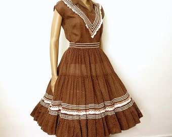Vintage 1950s Dress Dark Brown Square Dance Patio 2 Piece Dress / Extra Small to Small