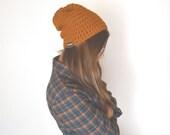 Mustard Beanie Hat Crochet Knit Beanie Toque Slouchy Beanie Woodland Wool Beanie Winter Hat Small or Large