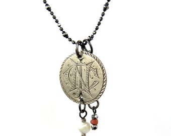 antique love token - CJN or CIN in any combo - on sterling chain