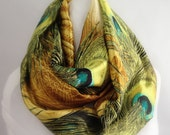 Peacock Green Infinity Scarf, Circle Scarf, Women's Scarf, Christmas Gift, Gold Scarf