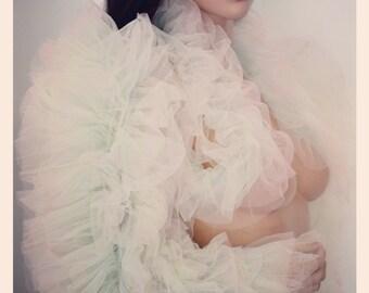 Tutu Lace Top Jacket Cape Bolero Lingerie Fairy Tulle Wedding Bridal CHRISST