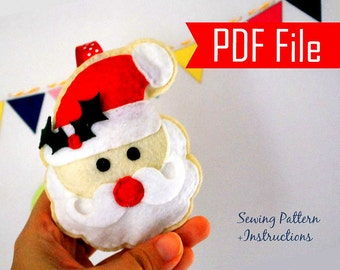Santa Claus Sewing pattern,  PDF ePATTERN , Christmas Ornament  Instant Download A871