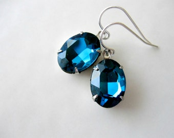 Indicolite Blue Crystal Earrings, Sterling Silver, Indigo Dark Blue Teal