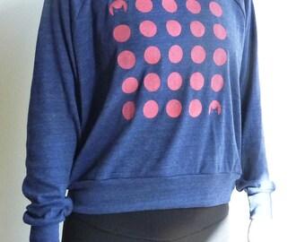 SALE - Womens Sweatshirt -- Pink Polkadots and Cats