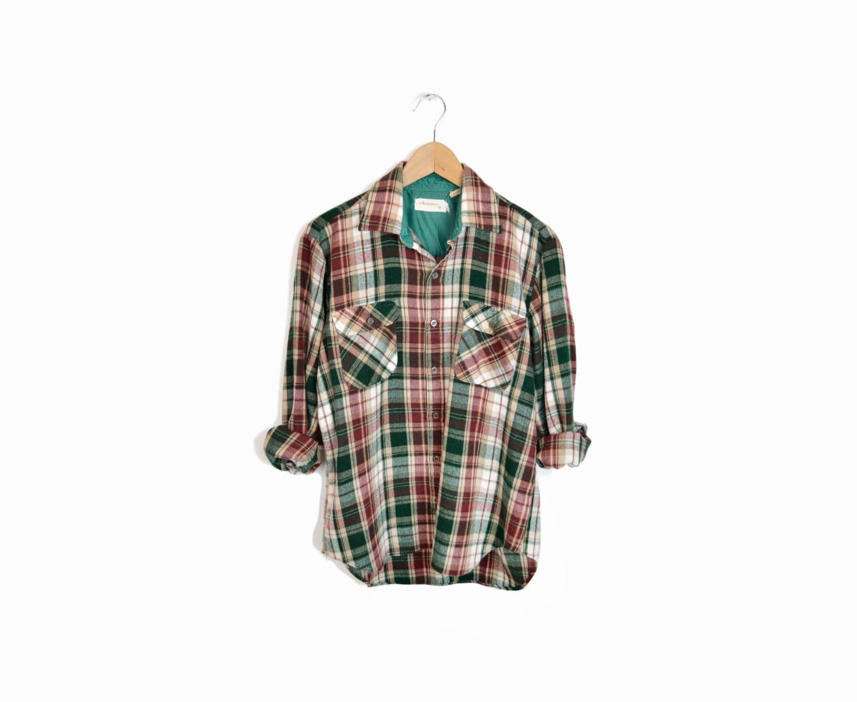 Men 39 S Vintage Lumberjack Plaid Flannel Shirt In Green