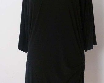Black Jersey pullover top with drape