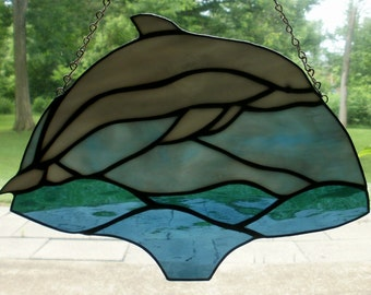 Stained Glaas Leaping Dolphin in Ocean Sea Water Stained-Glass Panel